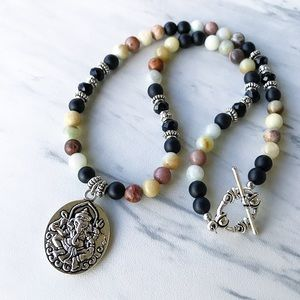 Genuine amazonite & onyx ganesh stone necklace